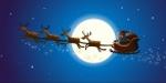 Père Noël devant la lune